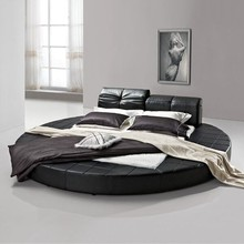 Bedroom Furniture Modern Leather Bed, latest leather round bed design, hotel bed P606