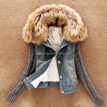 2015 Woman Winter Jean Knitted Sleeves Denim Short Jacket With Fur Collar Coat