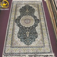 3x5ft Classical black persian design handknotted silk rug