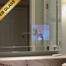 wall mounted tv mirror glass , frameless magic tv mirror manufacturerEB GLASS BRAND