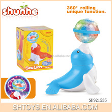 Electric animal sealion toy with light rolling ball toy