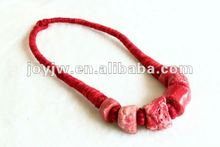 fashion design knitted necklace with semi-precious stone