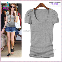 Women's Summer Cheap Pure Color Tight Fitted T Shirt Cap Sleeves U Neck with Button Decoration OEM Brand Clothing