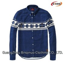 Long Sleeve Blue Casual Shirt with White Strip Supplier