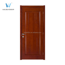 Simple design raised panel red cherry wood door with line art for hotel room