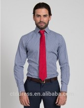 2015 nueva llegada y de alta calidad 100% clásico de algodón a cuadros azules personalizado a medida de la camisa