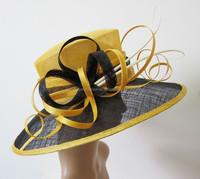 Yellow/black woman church hat wholesale