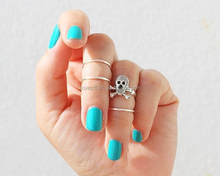 4pcs/lot retro skull ring set women punk gold midi ring Finger Knuckle Ring