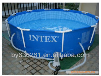 Family size round metal frame plastic swimming pools buy for Plastik pool rund