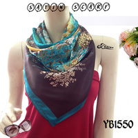 2015High-end custom Ladies Satin Fashion Scarf, Good Texture, Polyester Printed square Hijab hot sell European new style