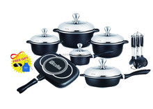 22pcs Die-cast aluminum black cookware set