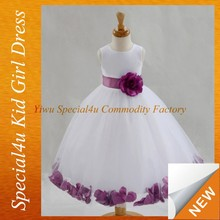 Flower belt matching white net kids dresses children frocks designs SFUBD-896