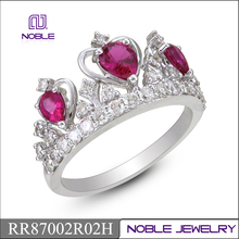 Fine ruby and diamond 18KW gold crown ring