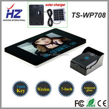 "Touch key tamper alarm rainproof HD 7""TFT-LCD taking photos solar charger wireless video door phone TS-WP708 made in China"