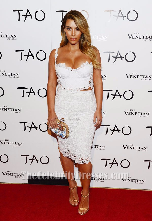 kim kardashian sexy white lace party cocktail dresses