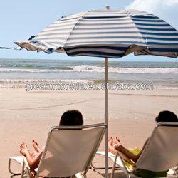 Tilting White Aluminum Pole and fiberglass ribs Beach Umbrella White Aluminum Pole and fiberglass ribs