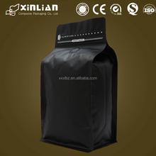 hot sale matt black instant coffee bag with one way valve/bottom bag with front zip