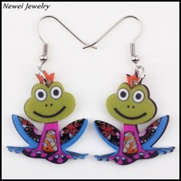 Newei 2015 New Arrive Fashion Jewelry Long Drop Earring Acrylic Frog Dangle Earrings For Girl Women