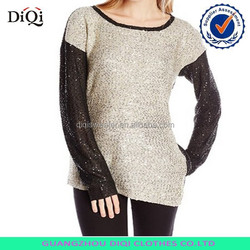 Fashion OEM long sleeve blouse,long sleeve sequin jacket,sequin fabric