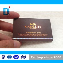 Plastic Authenticity Card with Hologram stripe