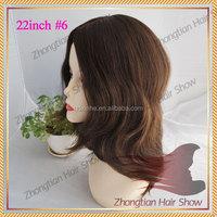 20inch #6 human hair wig virgin human hair 100% European human hair kosher wig jewish wig