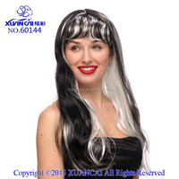 2015 Long straight hair wigs with bang mix the white and black fashion styles new design and top sales
