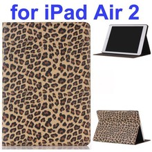 New Arrival Leopard Pattern PU Leather Smart Case for iPad Air 2 with Gears