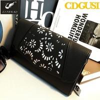 2015 promotion design leather wholesale thin evening bag