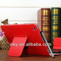 Red Removable Wireless Bluetooth ABS Keyboard Folio PU Leather Case Cover Magnetic Smart Stand for iPad 2 New Apple iPad mini