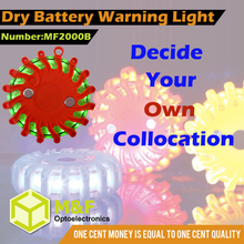 16 led traffic warning light with flashing rotary 9 function dry battery operated