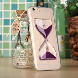 For iPhone 6 case, Funky 3D Crystal Clear Liquid Glitter Sand Quicksand Glass Design Hourglass Mobile Phone Case for iPhone 6