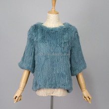 QC1010 fashion knitted natural rabbit fur pullover coats girls