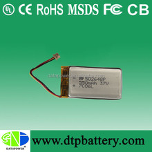 DTP 502648 lithium polymer battery capacity 550 mAh li-ion cells support add PCB cheap battery promotion