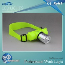 best head light!! made in china Aluminum alloy+plastic IP68 Head lamp to wear