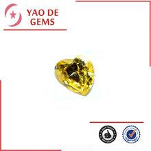 Top Sale Machine Cut CZ Stone, Cubic Zirconia Price, Heart Gold Yellow CZ Gems for Jewelry