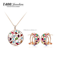 Wedding jewelry sets! T400 made with top quality Crystal pendant Necklace and stud Earrings set #S014