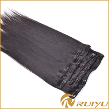 Wholesale clip in virgin russian salon human hair extensions