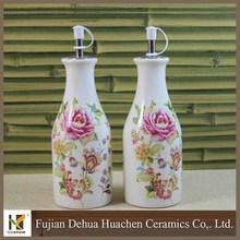 white with flower ceramic vinegar and olive oil bottle