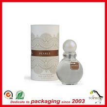 Wholesale perfume round box packaging lid and base customized rigid paper tube for cosmetic