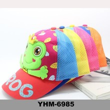 Cutest Summer canvas children visor cap with frog embroided pattern for sunproof