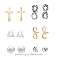 Fantasy Stud Earrings Set cross Glazed and Pave Crystal Infinity Pyramid Shell Pearl designs