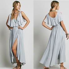 Sleeveless ladies embroidered v neck maxi dress with flounce, beautiful dress
