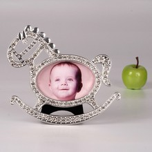 Zinc Alloy horse frame baby photo frame 2x2 inches white crystals bear for baby gifts baby room decoration HQ121886-32
