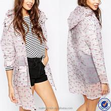 clothing factories in china drawstring hood print midi rain coat