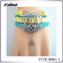 wholesale 2015 South Korean cloth with soft nap alloy LOVE design bracelets