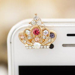 free shipping rhinestone crown anti dust plug