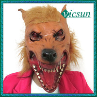 RJ-041 Yiwu Caddy 2015 Hot sale custom halloween horror wolf masquerade mask for party, latex animal mask