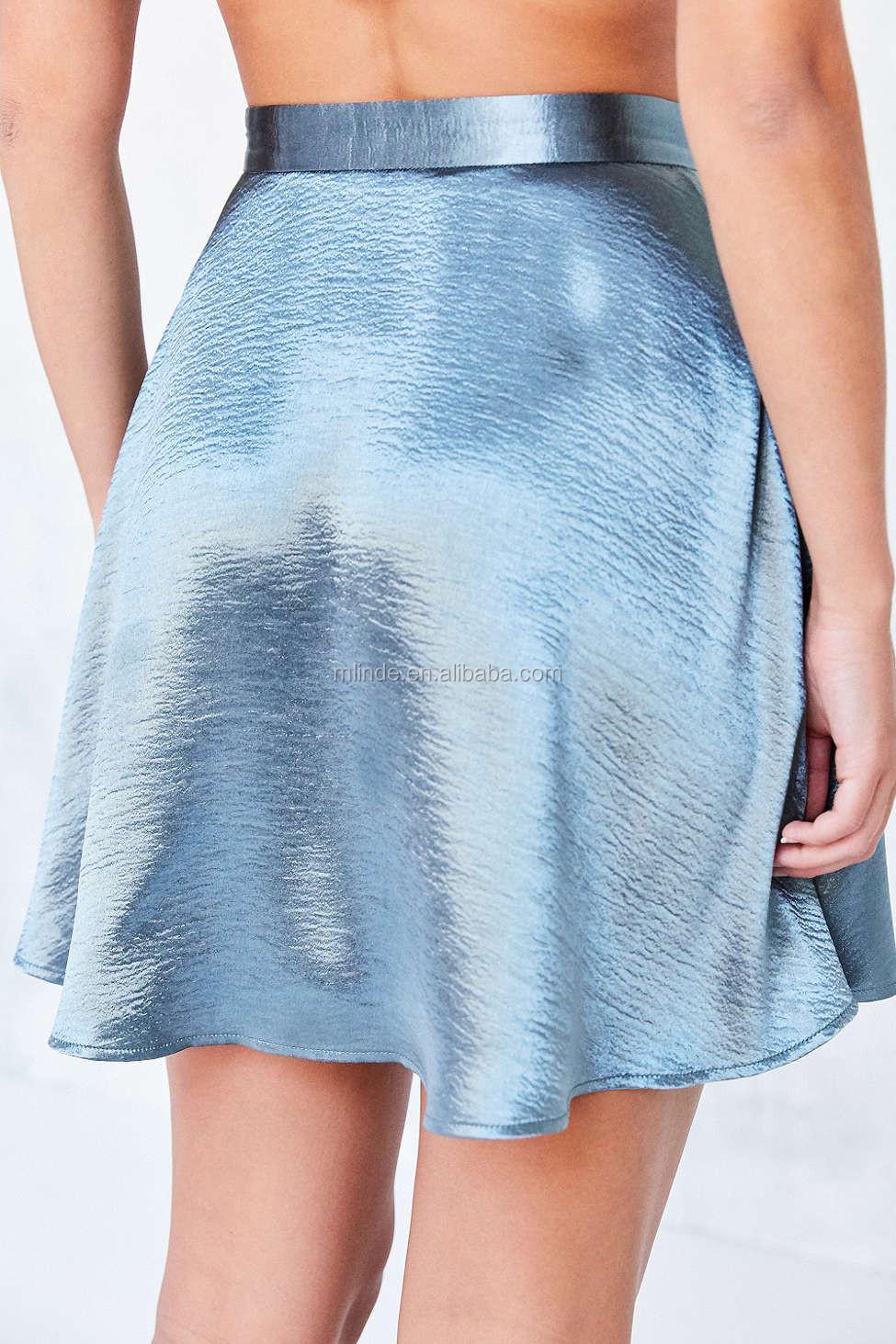 latest fashion short skirt satin shine metallic mini