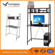 Home Use Black Wood Top Metal Frame Computer Desk With Shelves