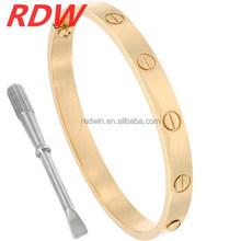 RDW 316L stainless steel women fashion bangle, CZ bangle screw